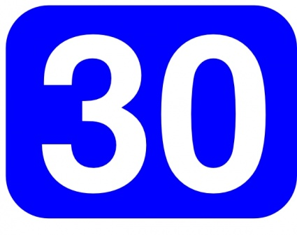 ... Vector › Shapes › Blue Rounded Rectangle With Number 30 clip art