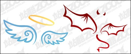 The devil and angel wings vector material vector, free vectors ...