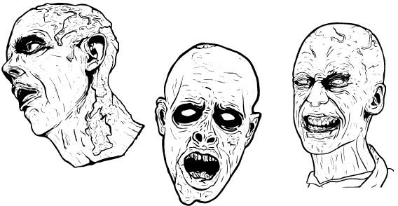 Zombie Face Line Drawing : Zombie face free vectors vector images