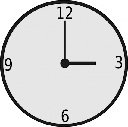 Black Outline Time Clock Analog 3pm Vector Free Vector