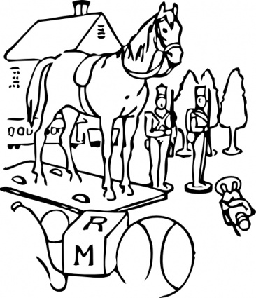 Free Download Of Horse Building Trees Toys Outline Clip Art Vector
