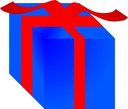 Free download of blue gift box wrapped with red ribbon clip art objectselements negle Image collections