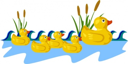 Home › Vector › Animals › Rubber Duck Family Swimming clip art