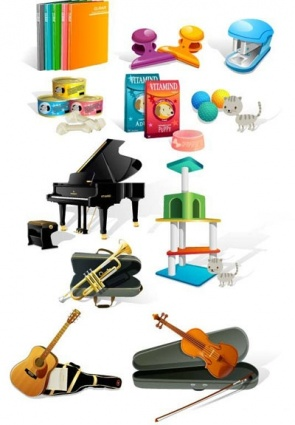 Music instrument dog food office vector free vector for Cuisine instrument