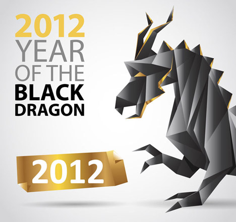 Free Download Of Dragon Origami Vector Graphic