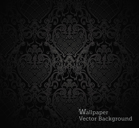 Free download of seamless wallpaper pattern black vector for Markise balkon mit tapete gothic