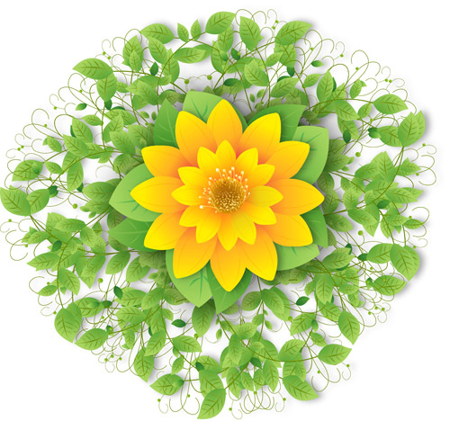 Free download of vector yellow flower with green leaves swirl flowers trees mightylinksfo