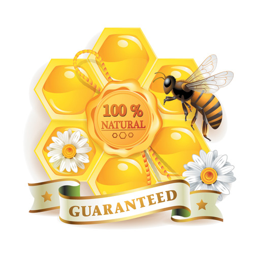Free vector Honey bee 100% natural guaranteed vector, free vectors ...