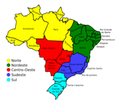 Colored Map Of Brazil Vector Free Vector Graphics Vectorme - Political map of brazil