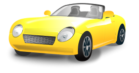 Free Download Of Yellow Convertible Sports Car Vector Graphic