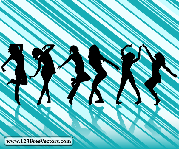 177-Dancing Girl Silhouettes with Striped Background ...